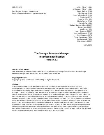 The Storage Resource Manager Interface ... - Open Grid Forum