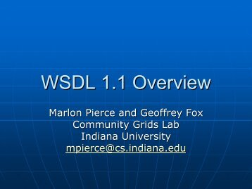 WSDL 1.1 Overview