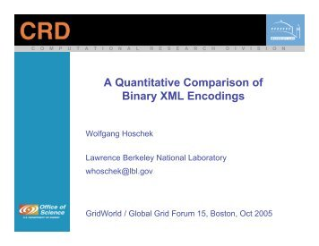 A Quantitative Comparison of Binary XML ... - Open Grid Forum