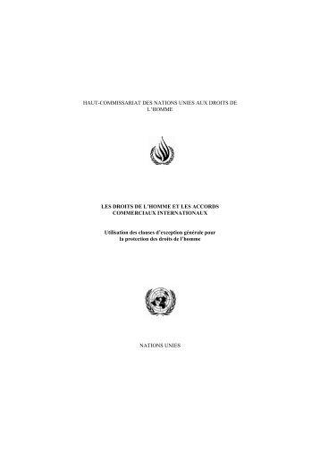 Les Droits de l'Homme et les accords commerciaux internationaux