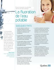 La fluoration de l'eau potable - Ordre des hygiénistes dentaires du ...