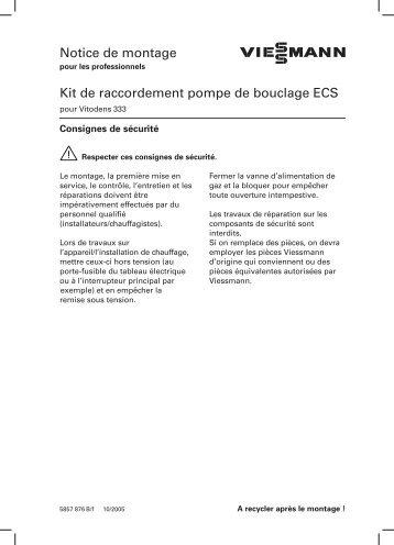 Notice de montage Kit de raccordement pompe de bouclage ECS