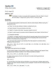 DENTAL ACT - Ordre des hygiénistes dentaires du Québec