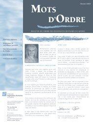 MOTS D'ORDRE - Ordre des hygiénistes dentaires du Québec