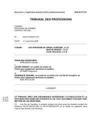 tribunal des professions - Ordre des hygiénistes dentaires du Québec