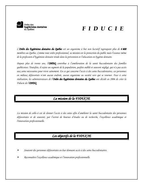 F I D U C I E - Ordre des hygiénistes dentaires du Québec