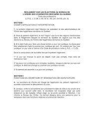 RÈGLEMENT SUR LES ÉLECTIONS AU BUREAU DE L'ORDRE ...