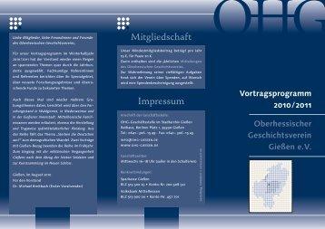 Flyer (als pdf) - Oberhessischer Geschichtsverein Gießen eV