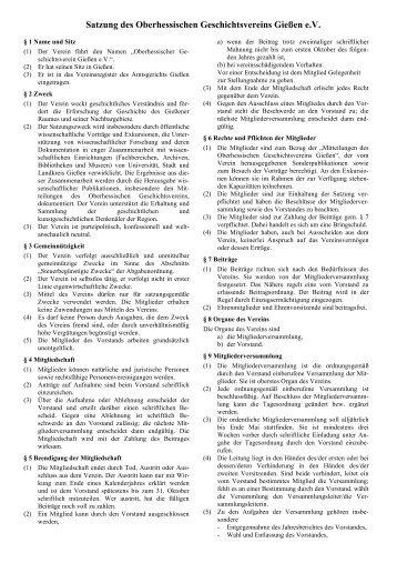 Satzung - Oberhessischer Geschichtsverein Gießen eV