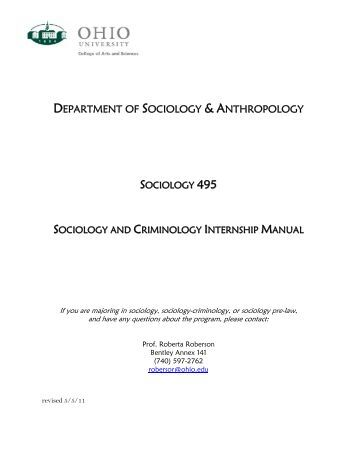 department of sociology & anthropology - Ohio University