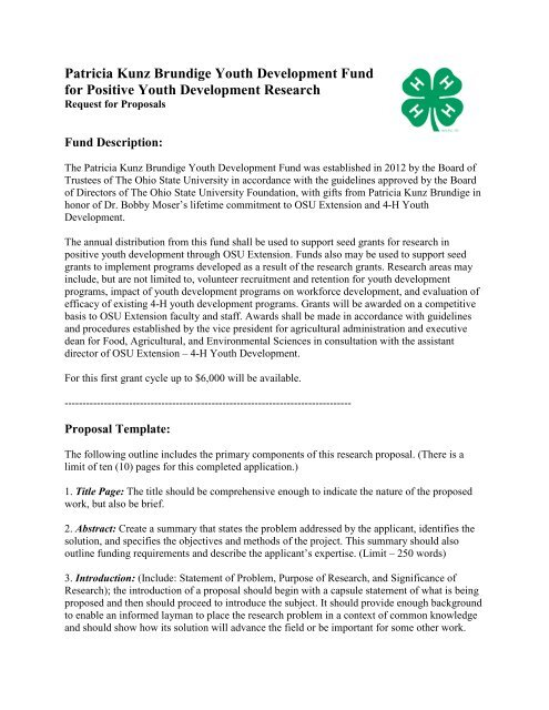Proposal Template Ohio State 4 H