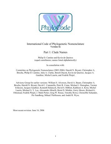 International Code of Phylogenetic Nomenclature ... - Ohio University