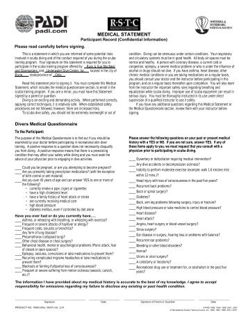 PADI Snorkeling Medical Statement Form - Ohio State 4-H