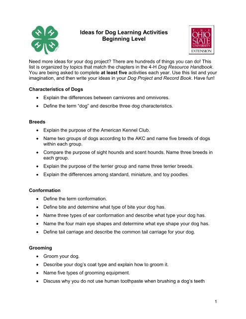 Ideas for Dog Project Learning Activities - Ohio State 4-H
