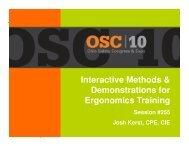 Interactive Methods & Demonstrations for Ergonomics Training