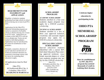 Scholarship Brochure - Ohio PTA