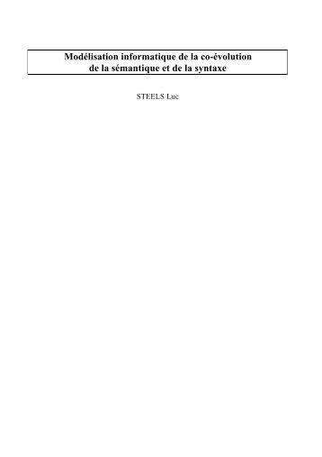 Modélisation informatique de la co-évolution de la ... - OHLL - CNRS