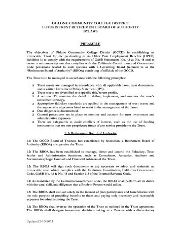 RBOA By-Laws (PDF) - Ohlone College