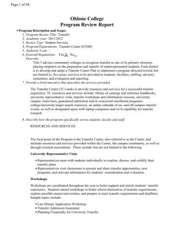 February 2012 Transfer Center (PDF) - Ohlone College