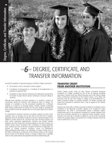 Degree, Certificate and Transfer Information - Ohlone College