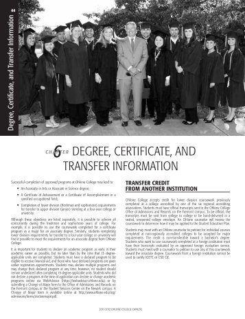 Degree, Certificate, and Transfer Information - Ohlone College