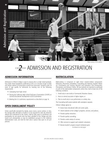2011-2012 Catalog (Admission and Registration) - Ohlone College
