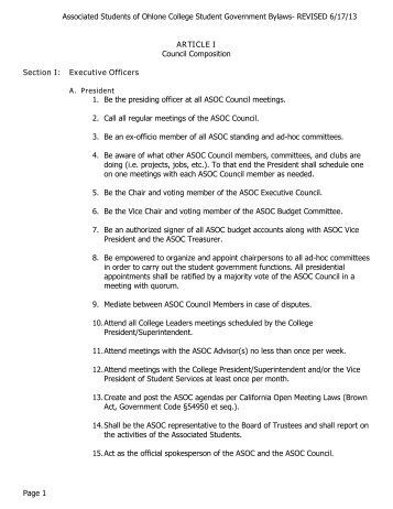 ASOC By-Laws (PDF) - Ohlone College