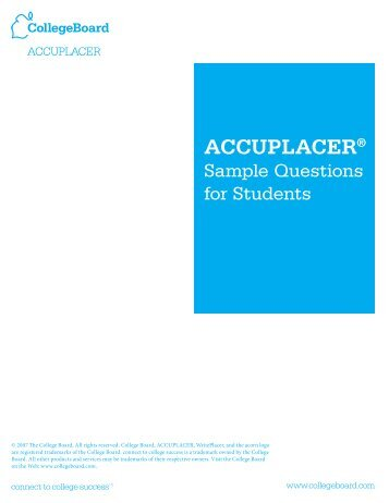 Accuplacer Sample Questions - Placement Center - Ohlone College