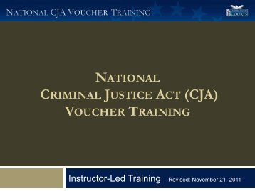 National CJA Voucher Training Materials - Northern District of Ohio ...