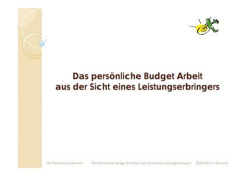 Das persönliche Budget Arbeit aus der Sicht eines ...
