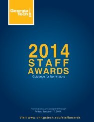 2012 Staff Recognition Awards - Georgia Tech Office of Human ...