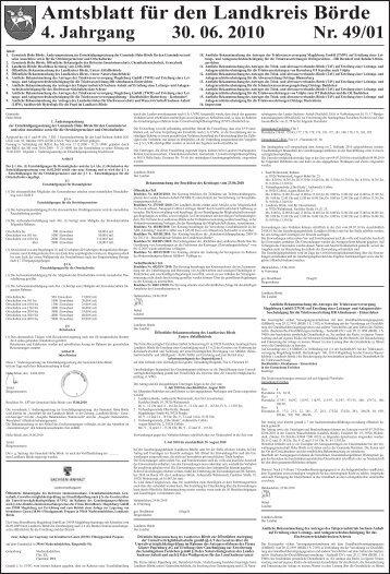 Amtsblatt für den Landkreis Börde 4. Jahrgang 30. 06. 2010 Nr. 49/01