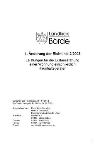 1. Änderung der Richtlinie 2/2008 Leistungen für die Erstausstattung ...
