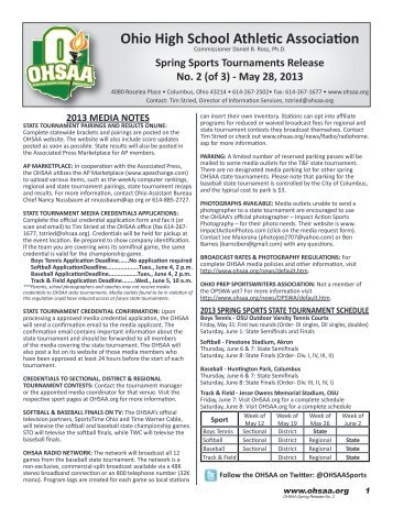 OHSAA Spring Weekly Release #2 - Ohio High School Athletic ...