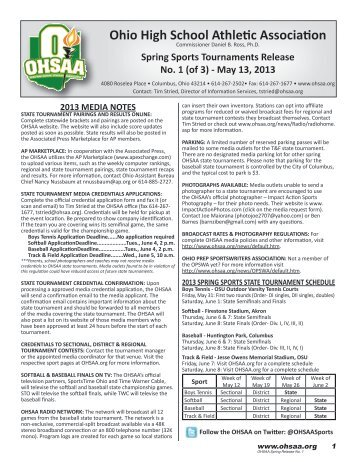OHSAA Spring Weekly Release #1 - Ohio High School Athletic ...