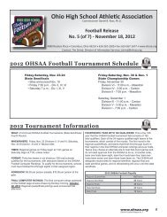 2012 OHSAA Football Tournament Schedule - Ohio High School ...