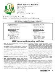 2009 Football Press Release No. 2 - Ohio High School Athletic ...