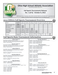 2012 OHSAA Fall Sports Tournament Overview - Ohio High School ...