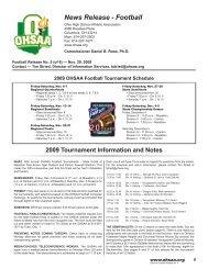 November 29, 2009 - Weekly Football Press Release No. 5
