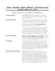 John Jacobs High School Invitational Friday, April 13, 2012