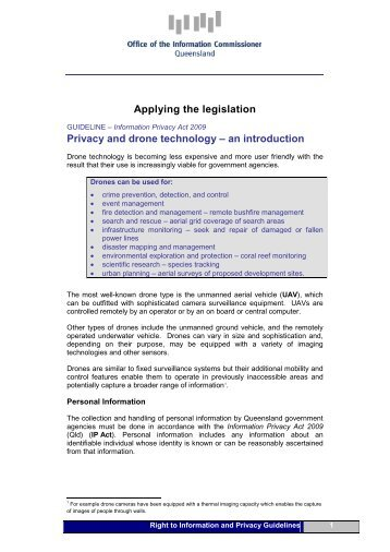 Privacy and drone technology – an introduction - Queensland ...
