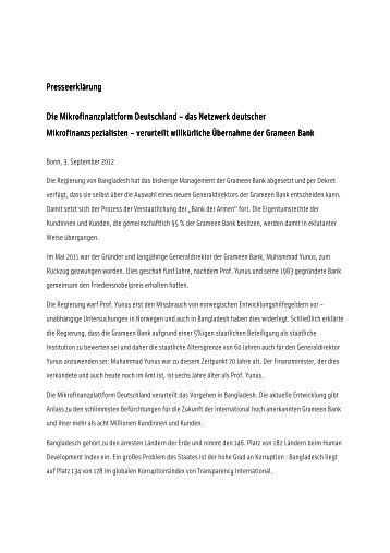 Reaktion auf die Verstaatlichung der Grameen - Opportunity ...