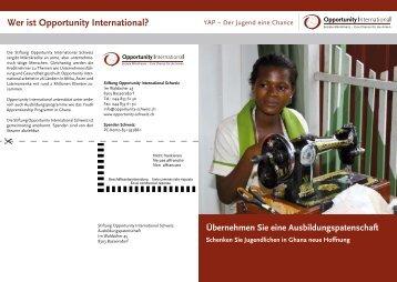 Die Ausbildungspatenschaft - Opportunity International Deutschland