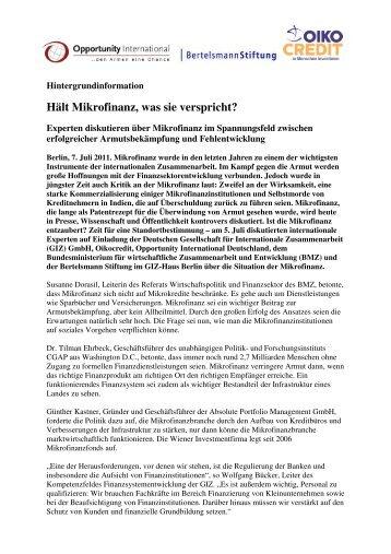 Hintergrundinformation zur Fachdiskussion: Hält Mikrofinanz was