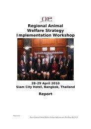 Regional Animal Welfare Strategy Implementation Workshop - OIE