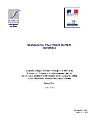 Rapport de l'étude sur les consommations d'eau