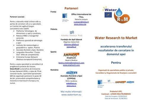 Water Research to Market - Office International de l'Eau