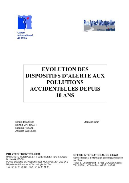 evolution des dispositifs d'alerte aux pollutions accidentelles depuis ...