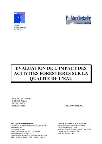 evaluation de l'impact des activites forestieres sur la qualite de l'eau