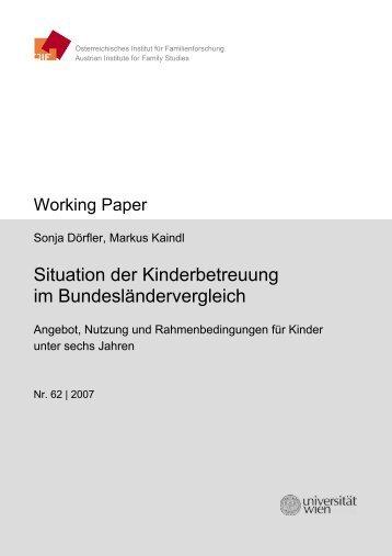 Situation der Kinderbetreuung im Bundesländervergleich